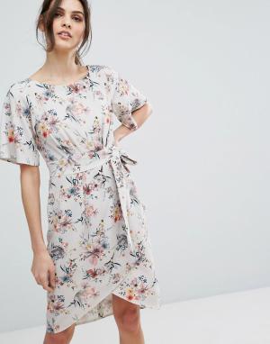 Closet London Платье с цветочным принтом и запахом на юбке. Цвет: мульти