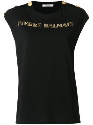 Футболка с принтом логотипа Pierre Balmain. Цвет: чёрный