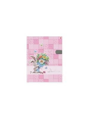 Дневник д/ст.кл.с магнитным хлястиком,  зайчата бибани Альт. Цвет: розовый