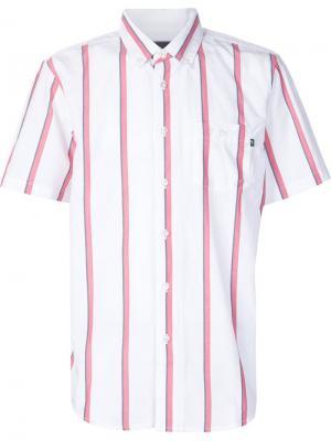 Полосатая рубашка с короткими рукавами Obey. Цвет: белый