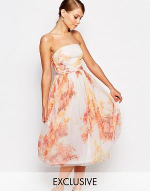 True Violet Платье миди для выпускного из тюля с цветочным принтом. Цвет: мульти