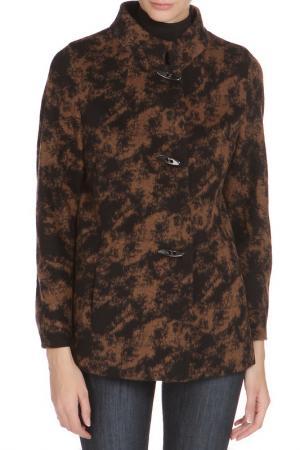 Полуприлегающее пальто с застежкой на пуговицы Cinzia Rocca. Цвет: черно-коричневый