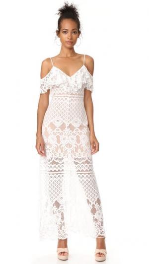 Макси-платье с открытыми плечами Luxia WAYF. Цвет: кружево цвета слоновой кости