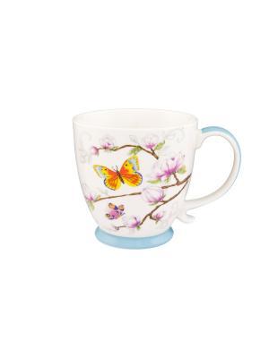 Кружка Бабочки в магнолии Elan Gallery. Цвет: голубой, желтый, белый