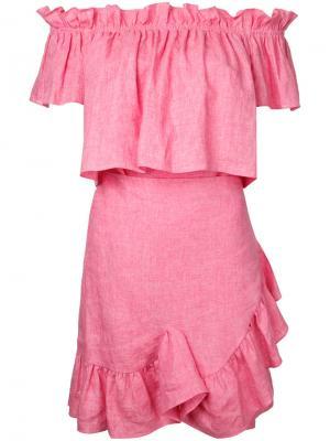 Платье с открытыми плечами и оборками Goen.J. Цвет: розовый и фиолетовый