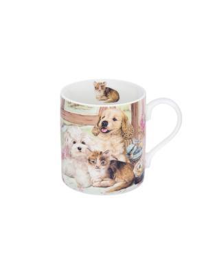 Кружка - подарок Забавные зверюшки собачки и кошечка Elan Gallery. Цвет: коричневый, белый, розовый