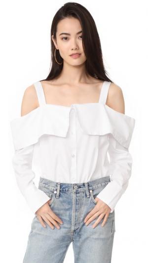 Рубашка с открытыми плечами Clu. Цвет: белый