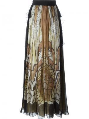 Длинная юбка с абстрактным принтом Alberta Ferretti. Цвет: чёрный