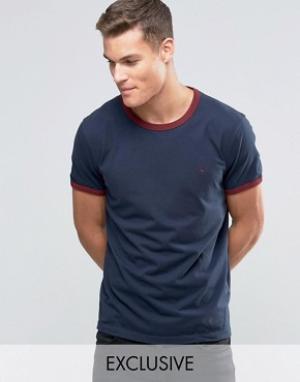 Jack Wills Темно-синяя футболка классического кроя Ringer. Цвет: темно-синий