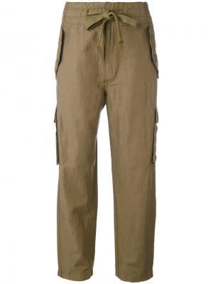 Укороченные брюки с завязками на поясе Vince. Цвет: зелёный