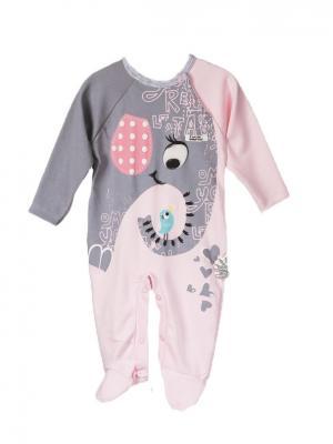 Комбинезон для малышей WO&GO. Цвет: розовый, серый