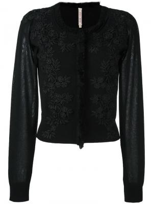 Трикотажная блузка с цветочными заплатками Antonio Marras. Цвет: чёрный