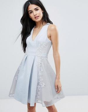 Forever Unique Короткое приталенное платье с глубоким V-образным вырезом Uniq. Цвет: серый