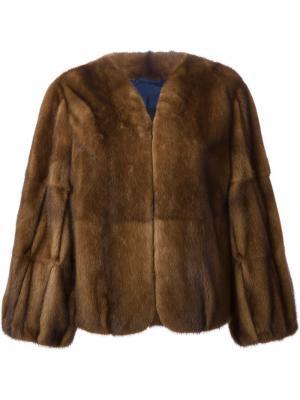 Меховое пальто с пышными рукавами Liska. Цвет: коричневый