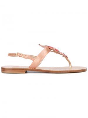 Декорированные сандалии Lisa C Bijoux. Цвет: розовый и фиолетовый