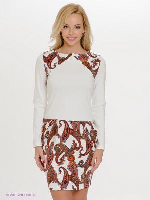 Платье Spicery. Цвет: молочный, оранжевый, терракотовый