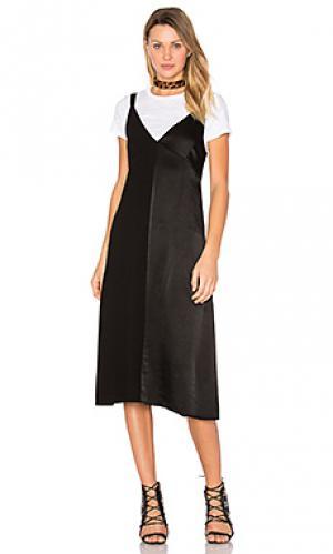 Атласное макси платье dual LACAUSA. Цвет: черный