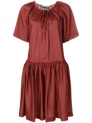 Расклешенное платье с узором Hache. Цвет: красный