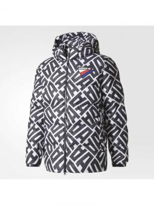 Пуховик AOP HOODED JKT WHITE/BLACK Adidas. Цвет: белый