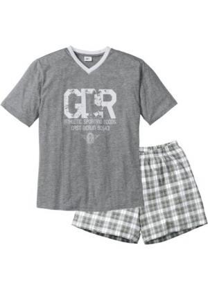 Пижама с  шортами (серый меланж/белый) bonprix. Цвет: серый меланж/белый