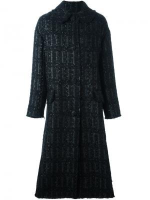 Длинное твидовое пальто Simone Rocha. Цвет: чёрный