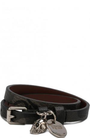 Кожаный браслет с подвесками Alexander McQueen. Цвет: хаки