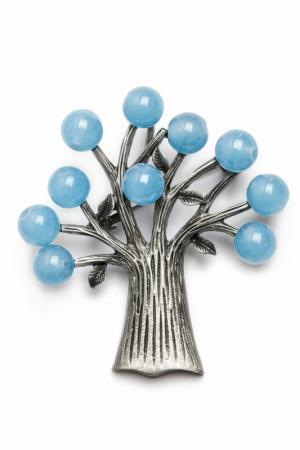 Брошь-кулон ZAXA HADID. Цвет: голубой, серебро