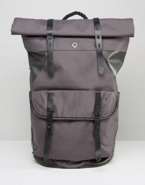 Stighlorgan Парусиновый рюкзак ролл-топ с кожаной отделкой Ronan. Цвет: серый