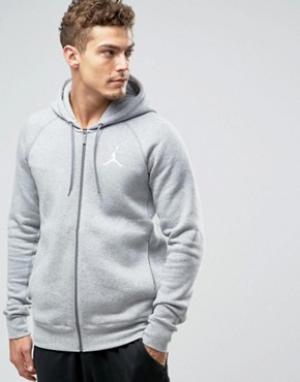 Jordan Nike Jumpman Flight Zip-up Hoodie In Grey 823064-063. Цвет: серый