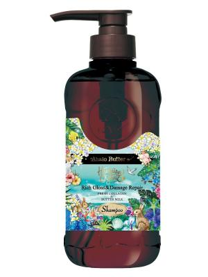 Шампунь растительный для объема, восстановления и шикарного блеска волос, 500мл AHALO BUTTER. Цвет: бирюзовый