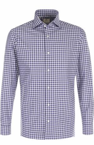 Хлопковая рубашка в клетку Luigi Borrelli. Цвет: темно-синий