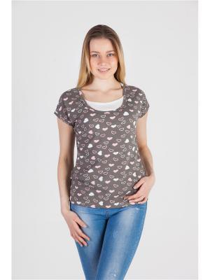Блузка Ням-Ням. Цвет: коричневый, белый, розовый