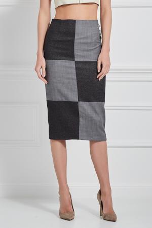 Комбинированная юбка-карандаш MoS. Цвет: черный, серый