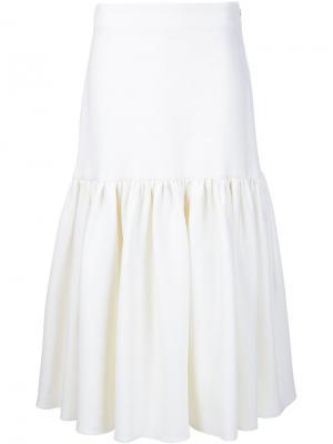 Расклешенная пышная юбка Ryan Roche. Цвет: белый