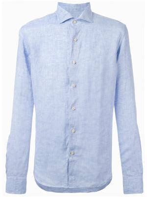 Джинсовая рубашка на пуговицах Xacus. Цвет: синий