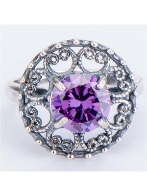 Кольцо Шанхай фианит Колечки. Цвет: фиолетовый