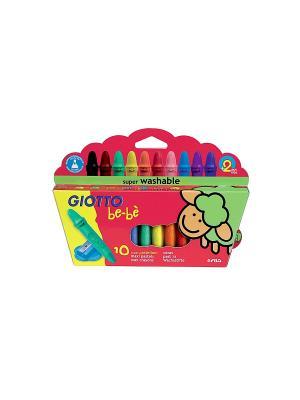 GIOTTO BEBE 10 WAX Crayons Восковые мелки, цв. FILA. Цвет: желтый, зеленый, красный