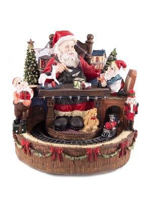 Новогодняя музык. композиция с подсветкой Мастерская Деда Мороза Русские подарки. Цвет: красный, белый, черный