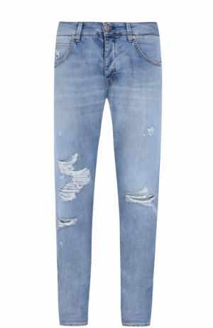 Джинсы прямого кроя с декоративными потертостями 2 Men Jeans. Цвет: синий