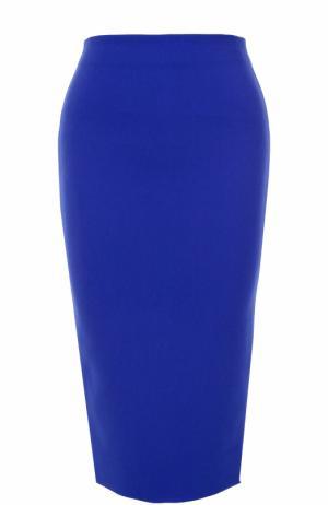Юбка-карандаш с декоративной молнией Victoria Beckham. Цвет: темно-синий