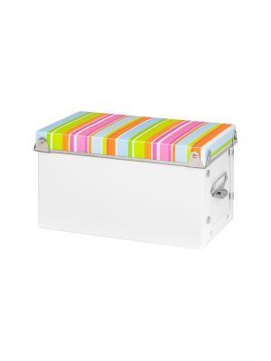 Коробка для хранения Яркие полоски EL CASA. Цвет: голубой, зеленый, розовый