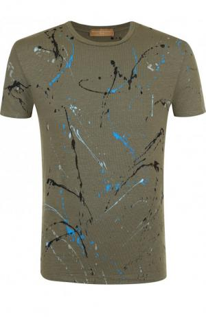 Льняная футболка с принтом Daniele Fiesoli. Цвет: хаки