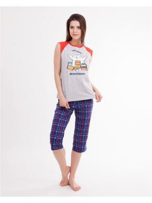 Комплект одежды: майка, бриджи Mark Formelle. Цвет: серый меланж, красный