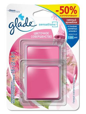 Glade Освежитель воздуха АромаКристалл сменный Двойной блок Цветочное Совершенство 16г. Цвет: розовый
