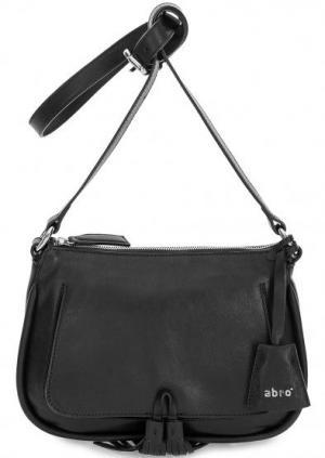 Черная кожаная сумка через плечо Abro. Цвет: черный