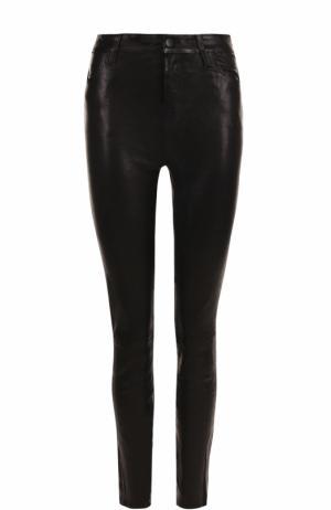 Однотонные кожаные брюки-скинни J Brand. Цвет: черный