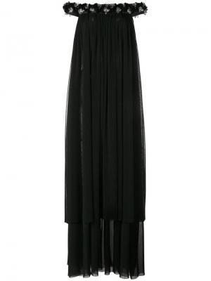 Платье с открытыми плечами и бусинами Huishan Zhang. Цвет: чёрный