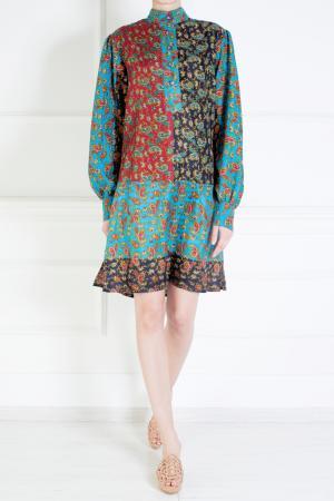 Платье из хлопка и шелка Duro Olowu. Цвет: зеленый, синий, черный, красный