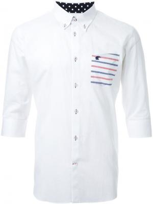 Рубашка с полосатым карманом Loveless. Цвет: белый