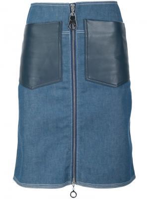 Джинсовая юбка с накладными карманами Edun. Цвет: синий
